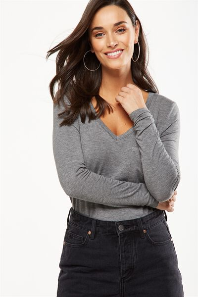 Karly Long Sleeve Top, CHARCOAL MARLE