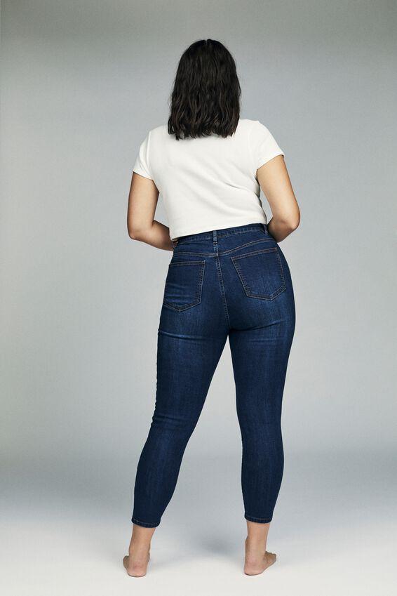 Curve Adriana High Crop Skinny Jean, DEEP BLUE
