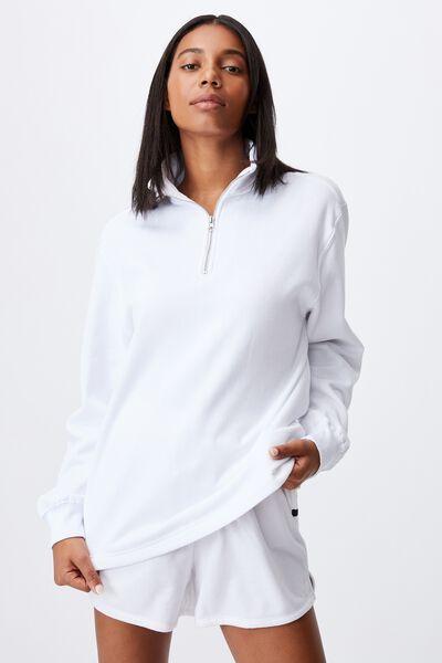 Classic 1/4 Zip Pullover, WHITE