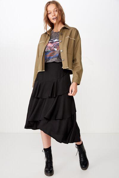 Woven Ava Midi Skirt, BLACK