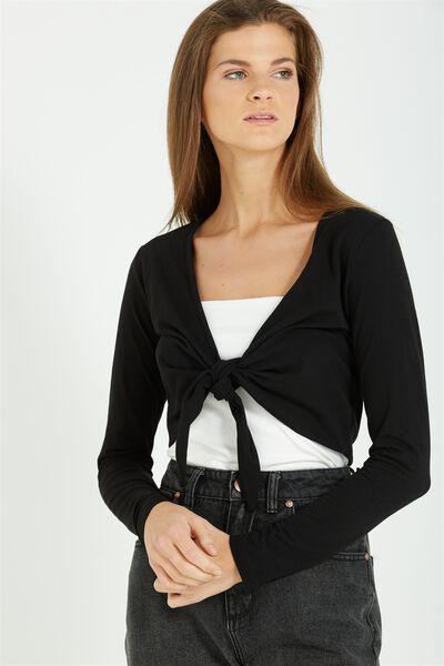 Mae Tie Front Top, BLACK