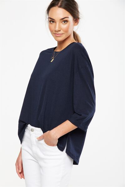 Jackie Oversized Long Sleeve Top, DEEPEST NAVY