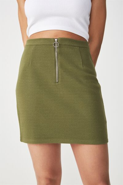 Gwen Zip Mini Skirt, SOFT KHAKI