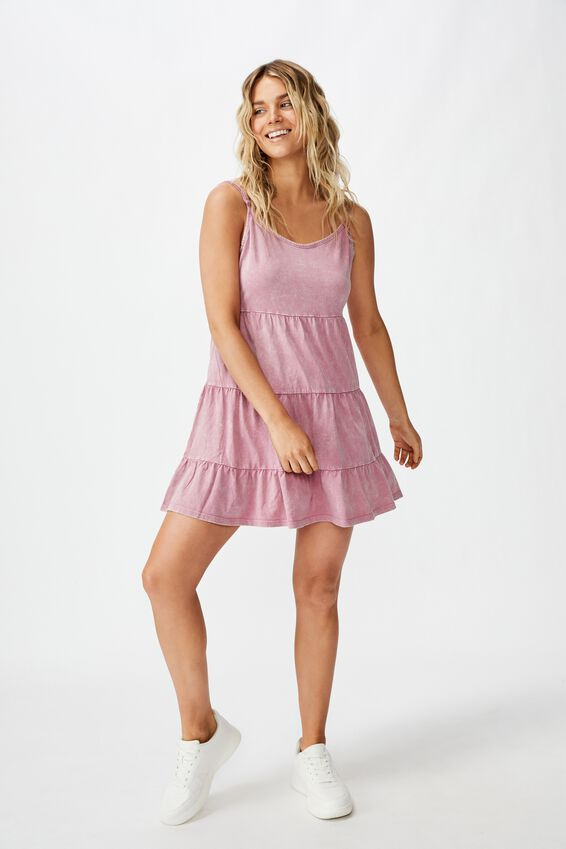 Kat Strappy Tiered Mini Dress, WASHED SUMMER CASSIS