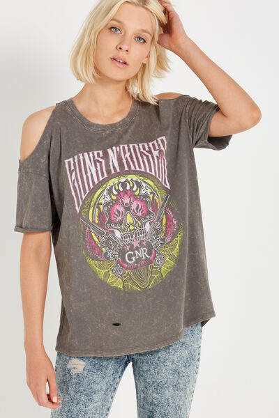 Tbar Cold Shoulder Tee, LCN GNR SUGAR SKULL/EIFFEL TOWER