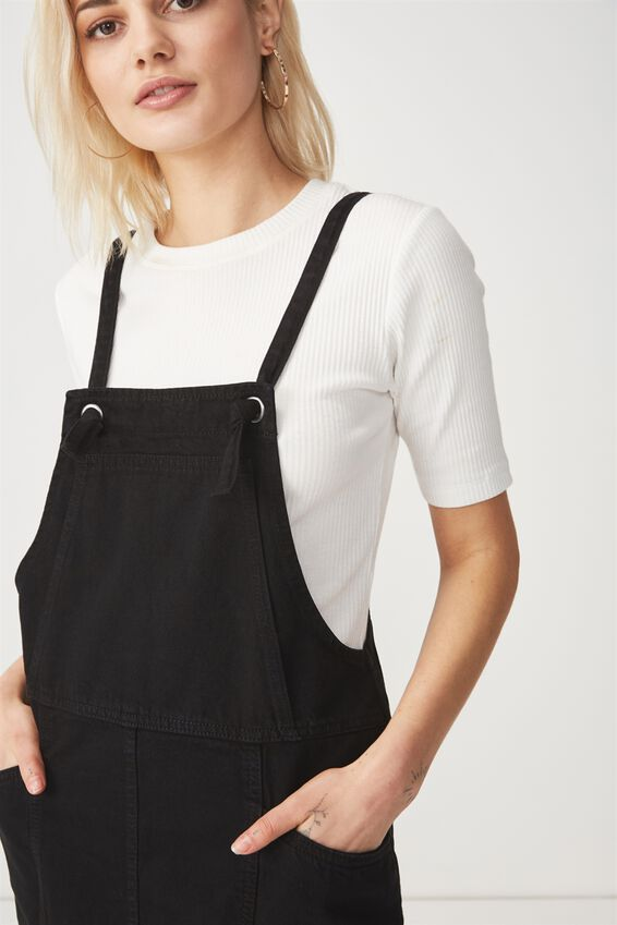 Denim Pinafore Dress, BLACK WASH KNOT