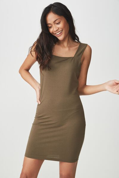 Peyton Square Neck Bodycon Mini Dress, CANTEEN GREEN