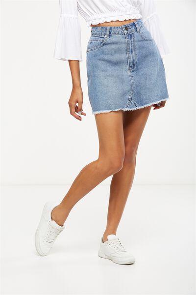 The Re-Made Mini Denim Skirt, DISTRESSED BLUE