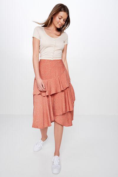 Woven Ava Midi Skirt, ABIGAIL SPOT BRUSCHETTA