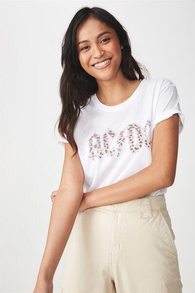 Tbar Fox Graphic T Shirt, LCN ACDC LEOPARD/WHITE