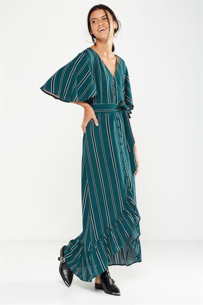 Woven Dallas Cape Sleeve Maxi Dress, LIZA VERTICAL STRIPE BOTANICAL GREEN