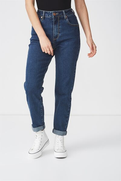 High Rise 90S Stretch Jean, BOWIE MID BLUE