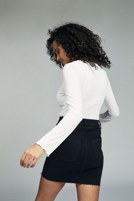 Classic Stretch Denim Mini Skirt, BLACK
