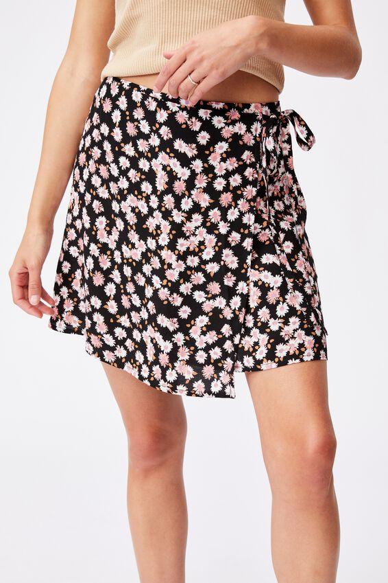 Drew Wrap Mini Skirt, SALLY DAISY BLACK