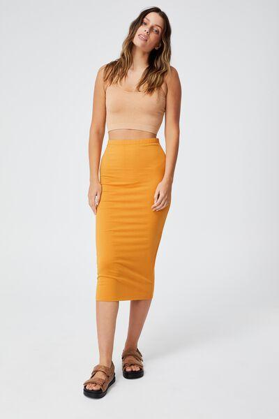 Essential Midi Skirt, RETRO YELLOW