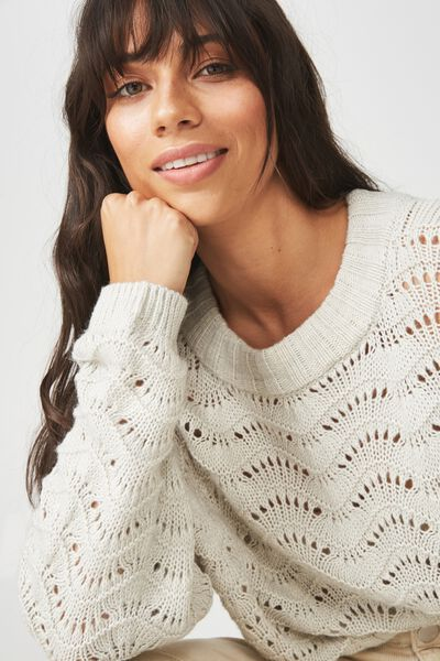 Cropped Pointelle Pullover, GREY