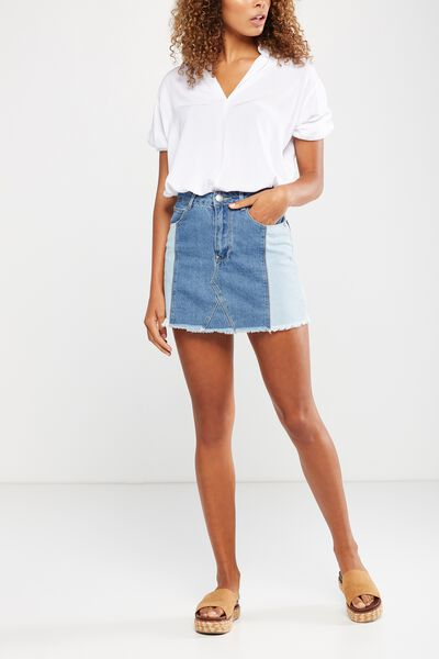 A Line Mini Spliced Denim Skirt, BLUE