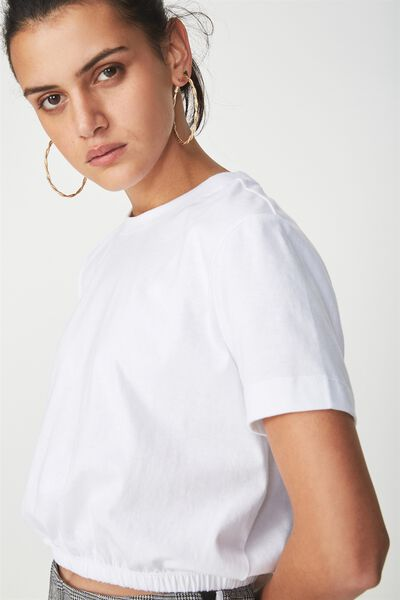Ivy Short Sleeve Waisted Top, WHITE