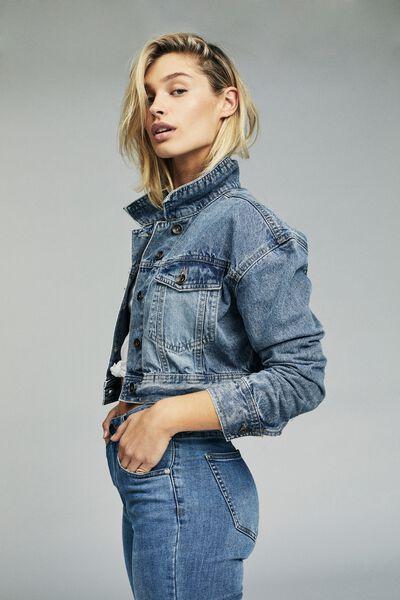 Angie Chopped Denim Jacket, NEW MID BLUE