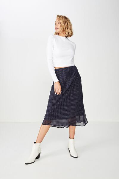 Woven Bella Bias Midi Skirt, ABBY GINGHAM NAVY
