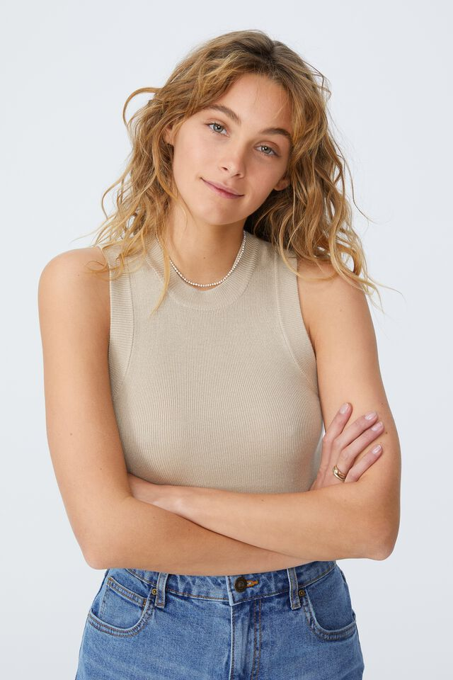 Sustain Me Variegated Rib Scoop Tank, LINEN TAUPE