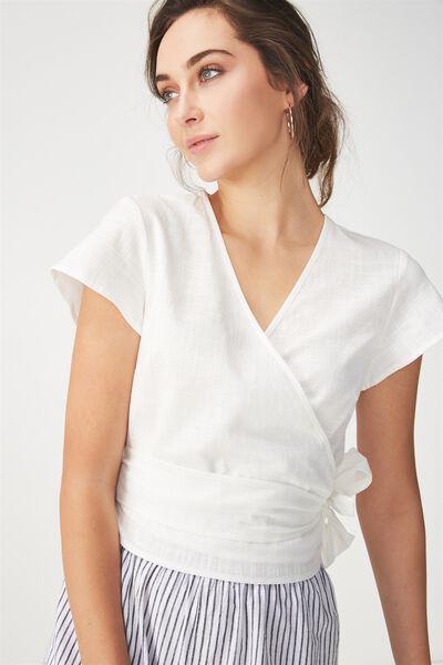 Kelly Wrap Top, WHITE