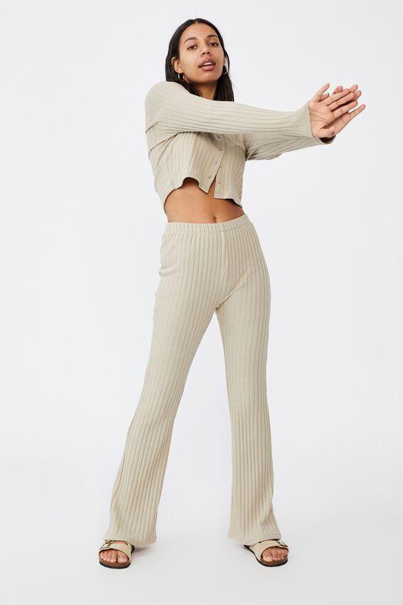 Renee Rib Polo Long Sleeve Top, SOFT SAND