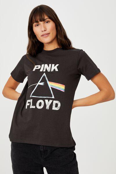 Classic Pink Floyd T Shirt, LCN PER PINK FLOYD HERITAGE LOGO/WASHED BLACK