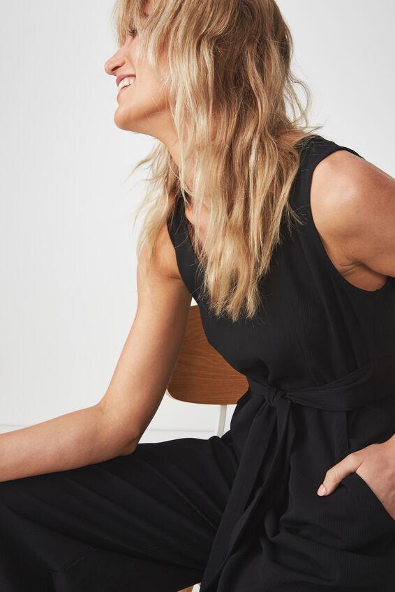 Woven Tara Sleeveless Jumpsuit, BLACK