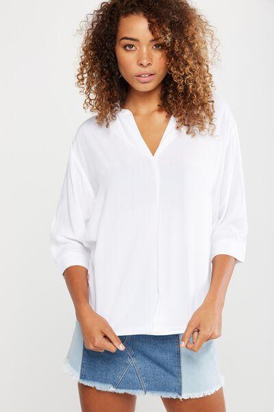 Bex Popover Shirt, WHITE