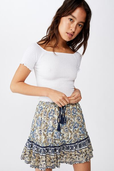 North Tiered Mini Skirt, SUNDAY FLORAL BORDER NEO MINT