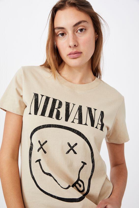 Classic Nirvana Smiley T Shirt, LCN LN NIRVANA SMILEY/PEARL