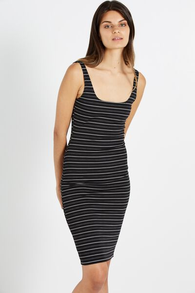 Kimi Scooped Bodycon Midi Dress, BLACK/WHITE BEKI STRIPE