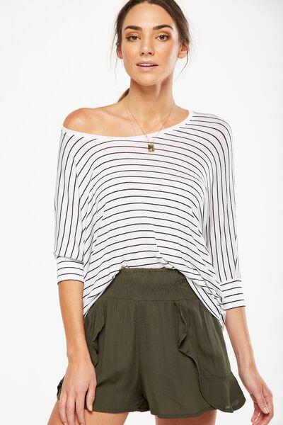 Bianca Long Sleeve Top, CLEO STRIPE WHITE/BLACK