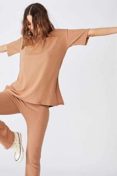 Bella Drop Shoulder Short Sleeve Top, HERITAGE BROWN