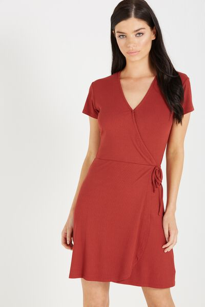 Sophia Short Sleeve Wrap Dress, ROSEWOOD