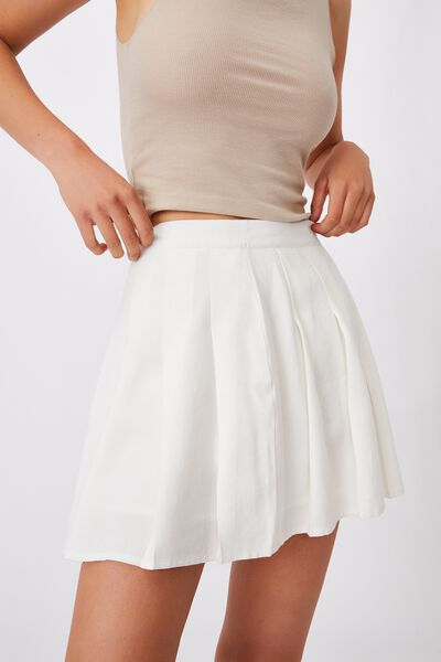 Pleated Tennis Mini Skirt, WHITE