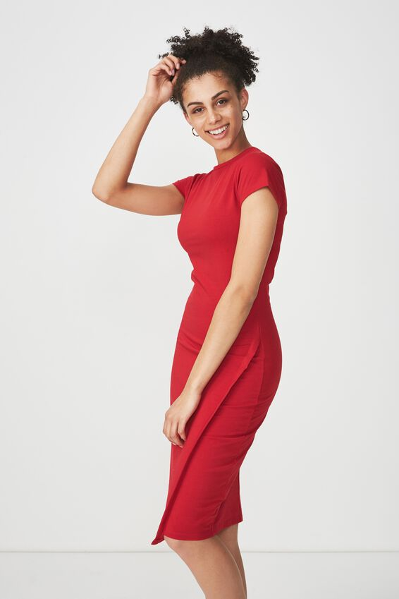 Anthea Short Sleeve Midi Dress, JESTER RED