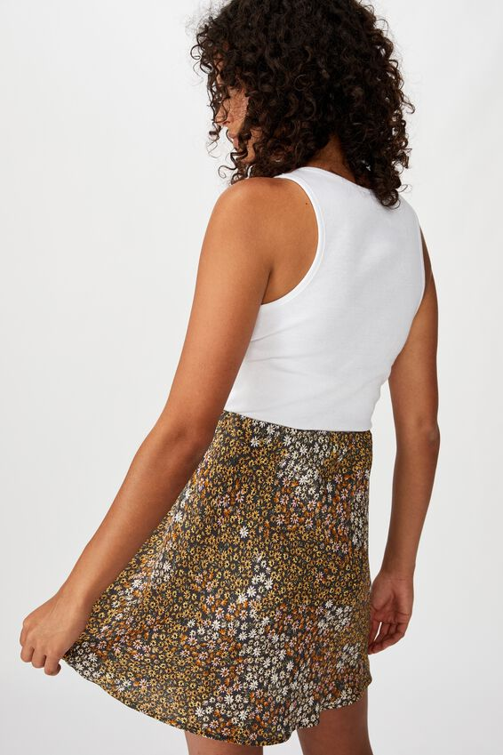 True Bias Mini Skirt, MANDY MULTI DITSY EBONY