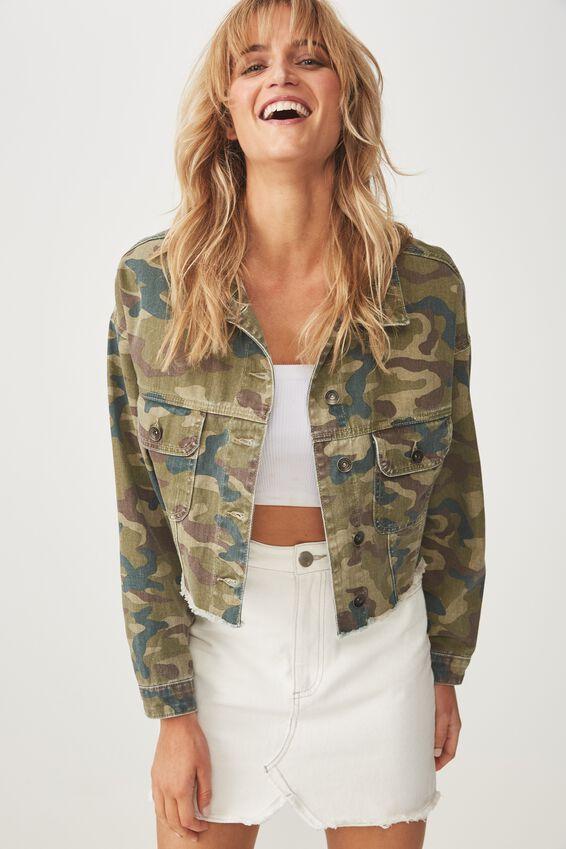 Cropped Fashion Batwing Denim Jacket, WASHED CAMO GREEN