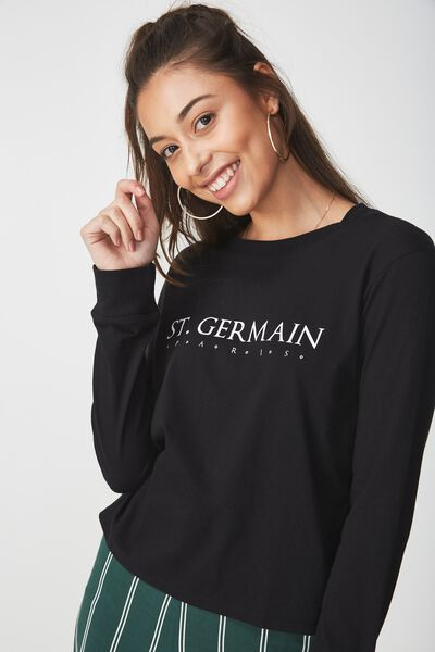 Tbar Tammy Chopped Graphic Long Sleeve Tee, ST GERMAIN/BLACK