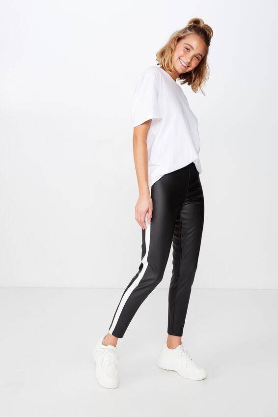 Dantea Legging, BLACK PU/WHITE SIDE PANEL