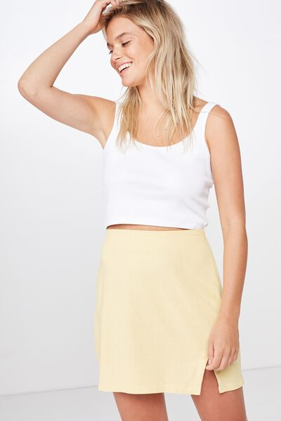 Woven Tara Split Mini Skirt, JOJOBA