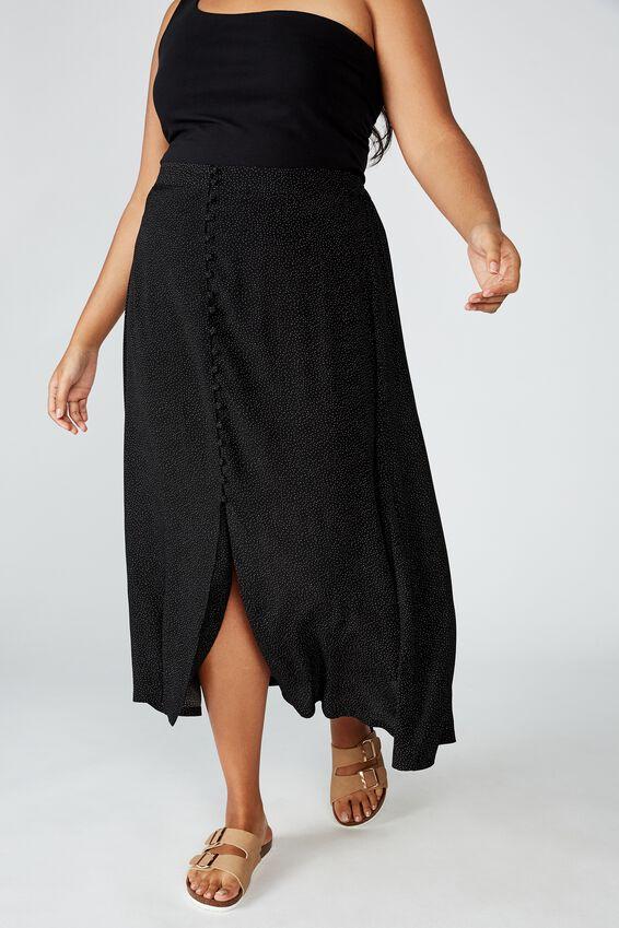 Curve Summer Button Midi Skirt, ROSIE SPOT BLACK