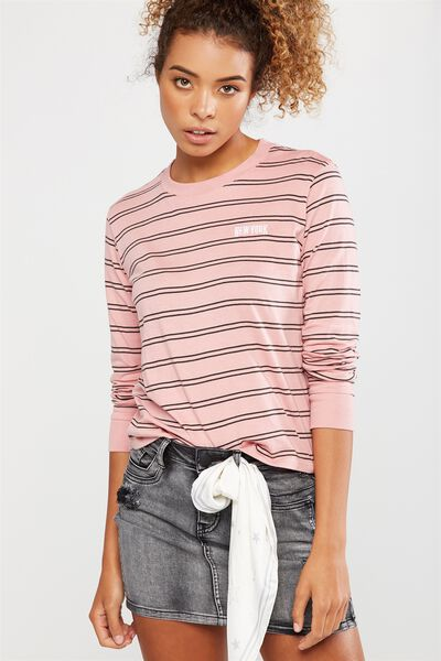 Tbar Tammy Chopped Graphic Long Sleeve Tee, NEW YORK GUNMETAL STRIPE/PINK BLOSSOM