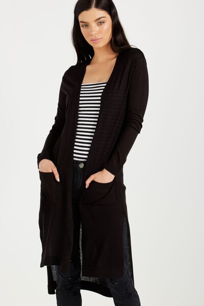 Ellie Longline Cardigan, BLACK