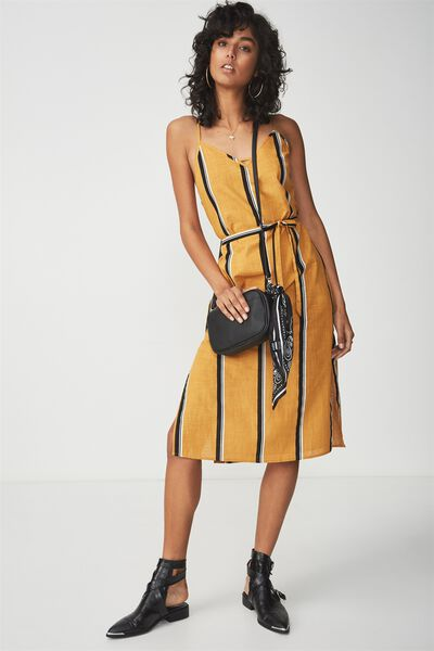 Woven Marce Midi Slip Dress, BETH STRIPE SPRUCE YELLOW
