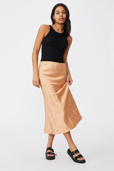 All Day Slip Skirt, SUMMER SAND LEOPARD JACQUARD