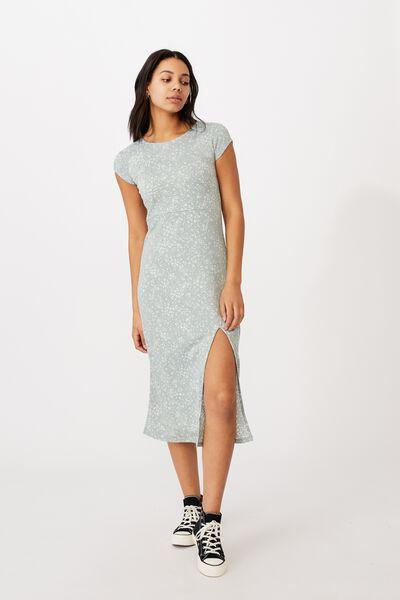 Elsa Short Sleeve Split Front Midi Dress, PENNY DITSY LUSH GREEN