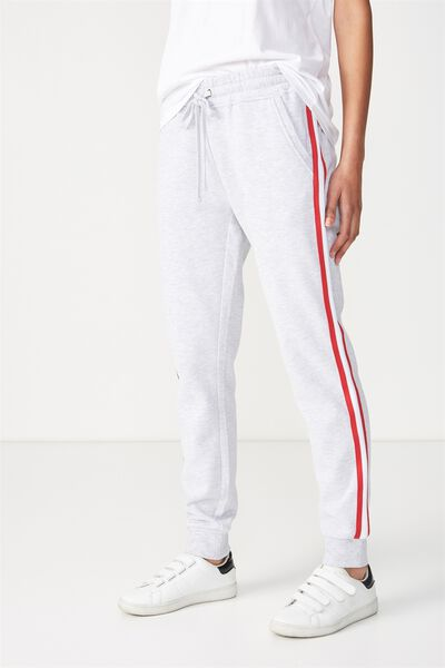Adele Trackpant, SILVER MARLE SIDE TAPE WHITE/CHILI RED